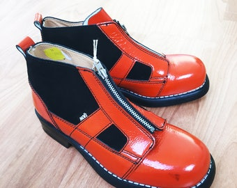 Vintage 80's Leather Black/Orange Leather Zipped Boots New Old Stock Made in France EU 34, 35