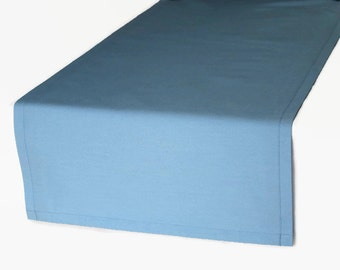 Solid Blue Table Runner in 4 Colors and 8 Length Options, Blue Cloth Table Runner, Solid Light Blue Runner, Solid Navy Table Runner