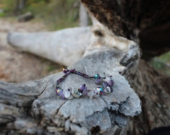 Natural amethyst and bead bracelet