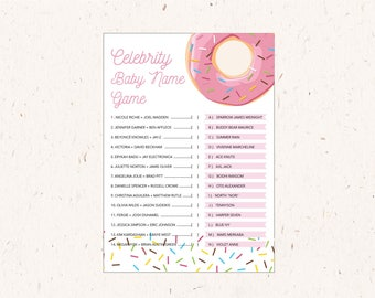 Celebrity Baby Name Game, Baby Shower Activity, Sprinkles, Donut Party theme, instant download