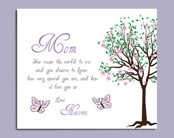 Gift for Mom - Mothers Day Gift - Birthday Gift - Personalized Art Print - Available in any Color of Your Choice