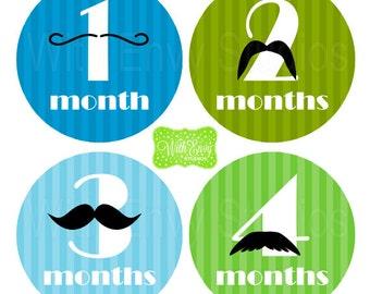 Mustache Baby Monthly Stickers - Baby Bodysuit Stickers - Monthly Baby Stickers - Boy Monthly Stickers - 023