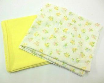 Vintage Pillowcases Flowered Yellow Crafting Bedding Linens