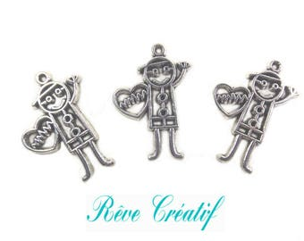 Pendants baby boy, charms, birthstones, 28mm x 20mm, 28x20mm, hole 1 mm, silver, 10 pieces