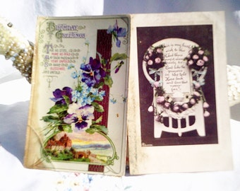 vintage postcards, floral postcards, pansies postcard, old birthday card, vintage cards, princess chair