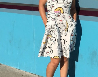 Faces Print Cotton Sundress with Adjustable Straps and Pockets