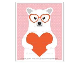 152A Heart Art Prints - Polar Bear Wearing Red Heart Glasses Wall Art - Polar Bear Print - Heart Drawing - Valentine Day Gifts - Bear Art