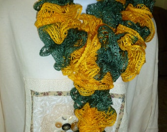 Green and Gold Ruffled Scarf Free Shipping
