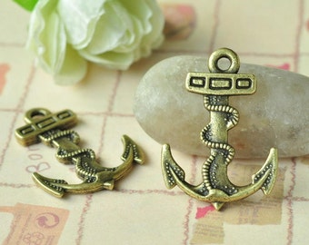 10pcs Antique Bronze Filigree Large Anchor Charms Double Sided 35x24mm K027