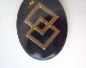 Vintage Glass Intaglio Black and Gold Geometric  # K 13