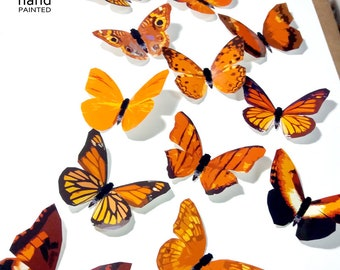 Orange Butterflies, 3D Butterflies, Butterfly Wall Decor, Butterfly  Decoration, 3D Wall Butterflies