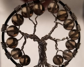 Smokey Quartz Tree of Life Pendant