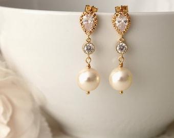 Gold wedding Earrings Pearl Bridal Earrings Gold Swarovski White Ivory Cream Pearl Earrings Pearl Drop Earrings Bridal Jewelry