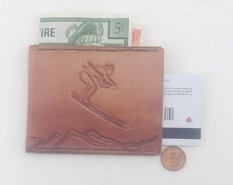 Skier Wallet - Slim  Leather Wallet - Retro Skier