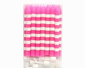 Bright Pink Birthday Candles with White Stripes - Set of 16 Sambellina Birthday Candles with Holders- Perfect for a pink birthday party
