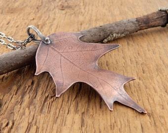 Leaf necklace, large copper leaf pendant, extra long chain, rustic oak leaf necklace, actual leaf pressed into copper.