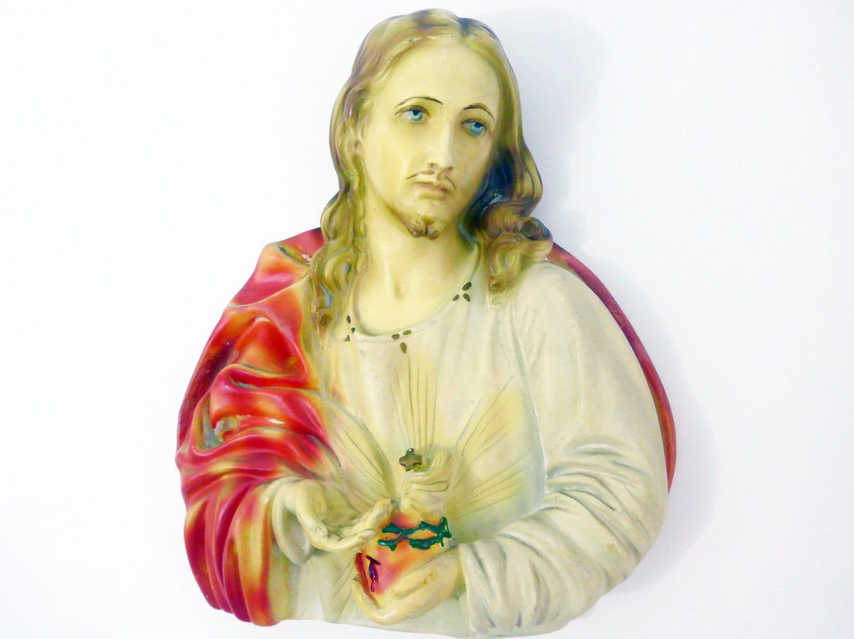 LARGE Jesus Wall Plaque Chalkware - Vintage Plaster Wall Decor - Mid ...