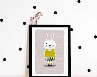 Nursery decor, nursery wall art, Kids room art print, nursery poster, Bunny art print, bunny poster, kids poster