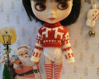 Red and white fine Stripes Blythe socks Christmas stockings for Blythe doll handmade in France