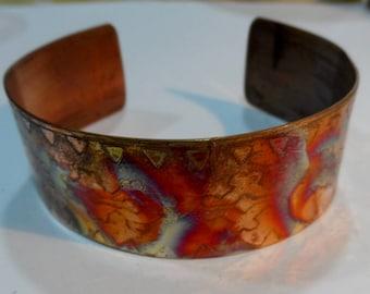 Bracelet Cuff Copper Etched Aztec Fire Painted