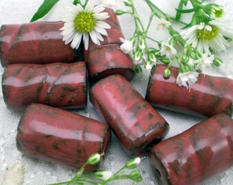 7 Handmade Ceramic Beads, Red Tube beads, Red Clay Beads, Loose Beads, Red Boho Beads, Necklace Supplies, Jewelry Supplies (BTL16)