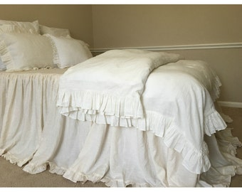 Soft white ruffle duvet cover, ruffle bedding, shabby chic duvet cover, available in queen king or custom size