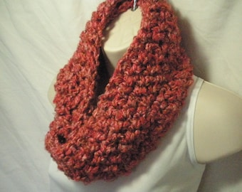 Pink Cowl Infinity Circle Scarf Neckwarmer Multicolor