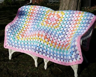 Super Chunky Granny Square Rainbow Blanket Made to Order