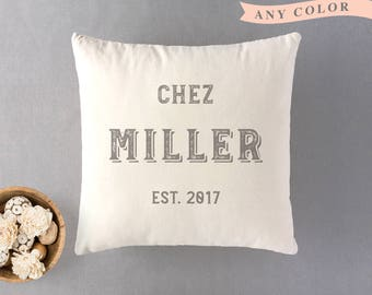 Personalized pillow Chez surname cushion 100% natural cotton throw cushion Neutral decor Country style Custom wedding gift Housewarming gift