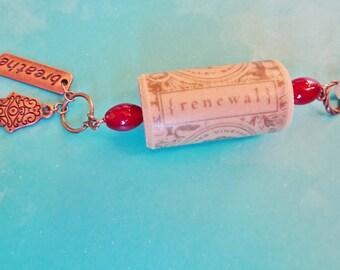 Wine Cork Ornament, Hamsa Renewal Ornament, Wine Bottle Charm