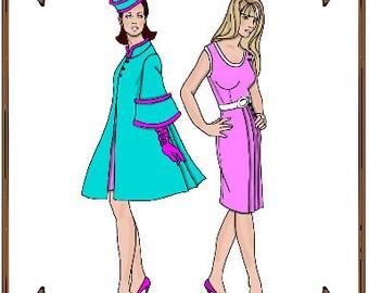 Email PDF - Silkstone Barbie Doll Clothes Pattern - Coat, Dress - No. PDF-84-SB