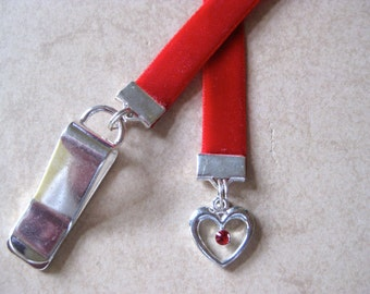 Red Crystal Heart bookmark / Love Bookmark - Attach clip to book cover then mark the page with the ribbon. Never lose your bookmark!