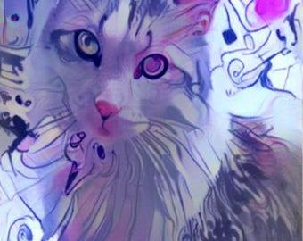 ATC ACEO Who Me? Aria Cat Kitty Purple Digital Art Card