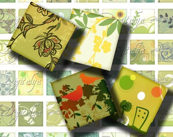 Shades of Green (1) Digital Collage Sheet -  Square 1 inch or smaller 56 Trendy designs in shades of green - Buy 3 Get 1 Extra Free
