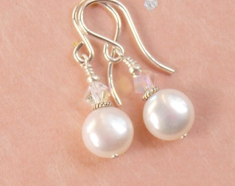 White freshwater pearl earrings with Swarovski crystals, sterling accents and ear wires