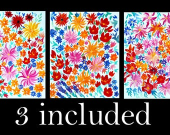 paintings, of flowers, bright, flower, art, painting, on, card, large, triptych, set, of, pictures, original, not, prints, originals, pretty