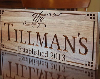 Personalized Family Sign, Home Decor Sign, Established Date, Personalized Last Name Sign, Housewarming Gift, Benchmark Signs, Cherry LL