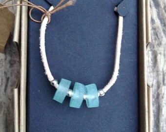 Sea glass necklace sea foam necklace sea glass pendant recycled glass jewellery contemporary jewellery  boho jewellery unique jewellery