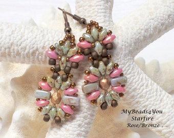 Beaded Earrings, SuperDuo Earrings, Drop Earrings, Beaded Jewelry, Beaded Earring Tutorial, Seed Bead Earrings, Bronze Earrings, MyBeads4You