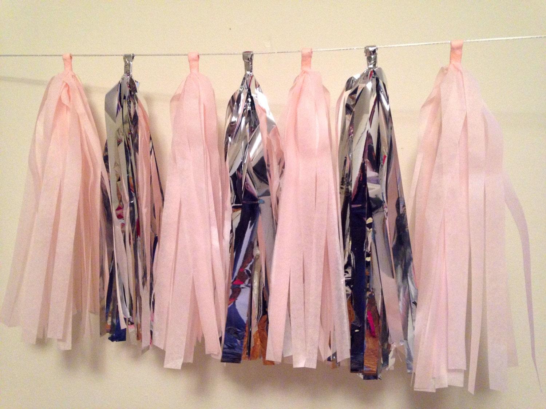 Tejido rosa y plata borla guirnalda Baby Shower / boda / /