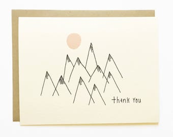 Thank You Mountain - Hand Illustrated Greeting Card - Thanks