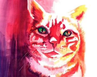Orange Tabby Cat Watercolor Fine Art Print on Paper, Metal, or Canvas [Orange Tabby Cat Print Orange Tabby Cat Painting Orange Tabby Cat]