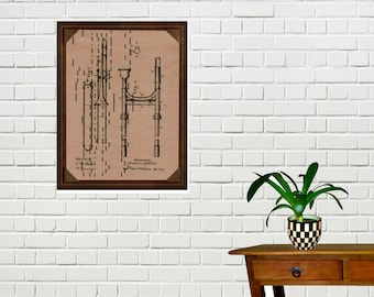 Slide Trombone Patent Drawing Art Print Printed on Vintage Player Piano Paper Wall Hanging Music Student Teacher Graduation Gift