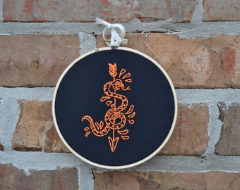 Snake Hand Embroidered Wall Art