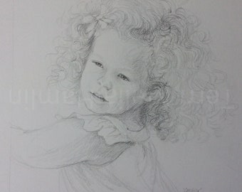 CustomPortrait of a Child , Mothers Day Gift, Drawing of a Little Girl , Custom Portrait of a Child , Hand Drawn Portrait Art of a Child