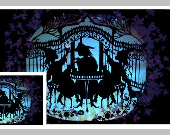 Witches Tea Party  Folk Art Paper Cutting Collage Card