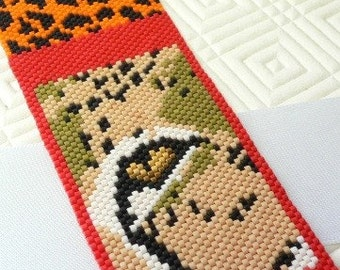 Eye of the Cheetah beaded cuff bracelet in peyote stitch: Instant Downloadable Pattern PDF File