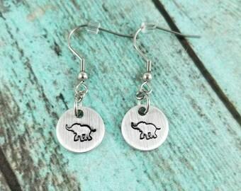 Elephant earrings, handstamped earrings, dangle earrings, hypoallergenic earrings, custom earrings, gift for her, stocking stuffer, under 15