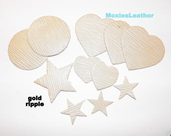 Leather pieces earrings long teardrop gold ripple 11 pieces lot #93