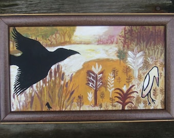 Crow Painting - Coming Home - Original Framed Bird Art - Purple Maroon Gold Green - Abstract Raven Nature Landscape Artwork Wall Decor